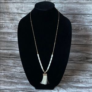 A New Day Gold Long Necklace with Tassel Pendant